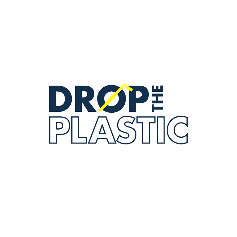 """Logo says: Drop the Plastic in navy blue. There is a straw drawn across the O symbolizing """"no"""""""