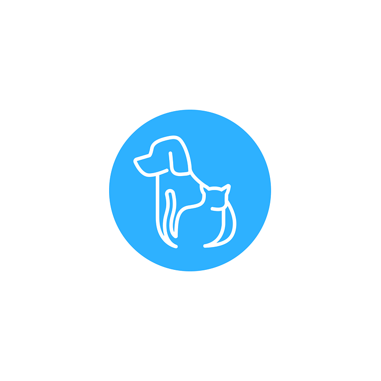 Bright blue circle logo with a white outline of a dog and cat inside