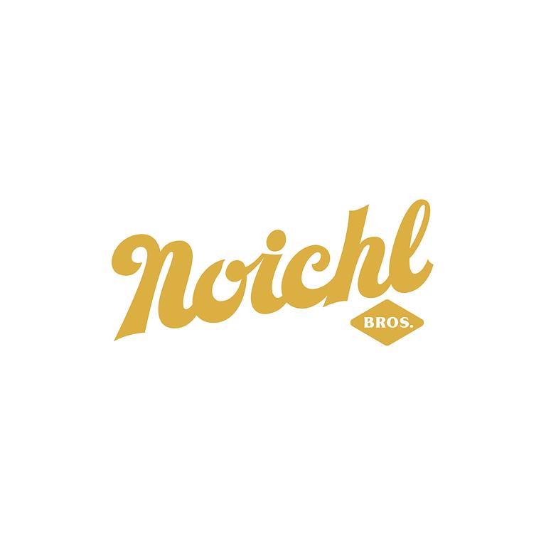 Gold script writing that reads: Noichl Bros on an upwards slant.