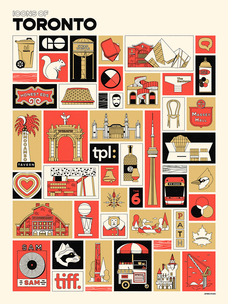 Black, red and gold illustrated poster featuring countless icons of Toronto city