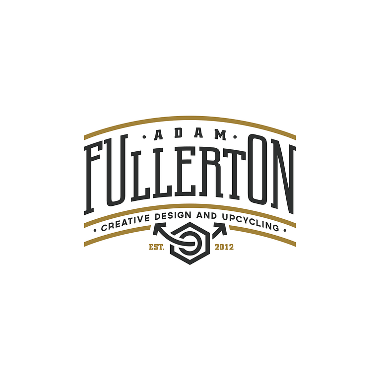logo that says 'Adam Fullerton, Creative Design and Upcycling in black and gold text, with a bolt and recycling arrow motifs