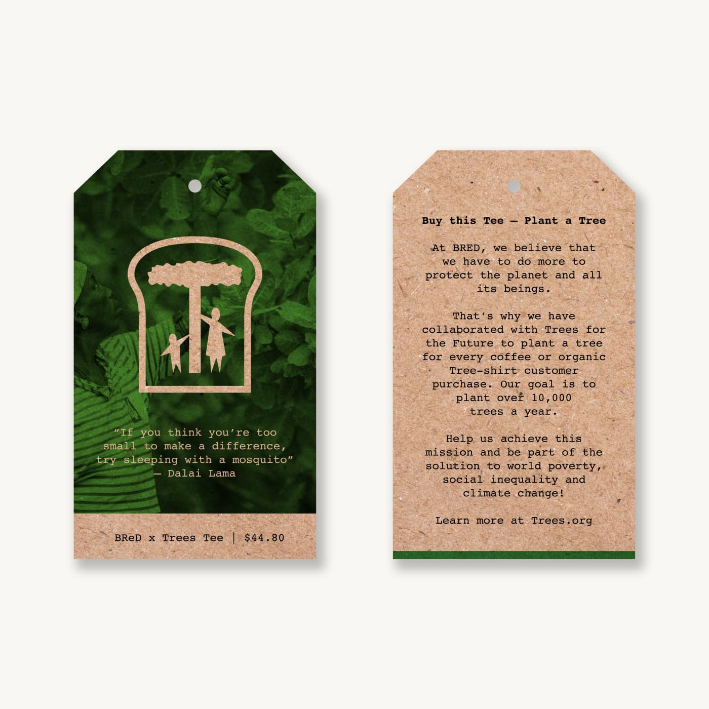 Garment tags in an earth tone, featuring a quote from the Dalai Lama and information about a campaign to plant trees in Africa