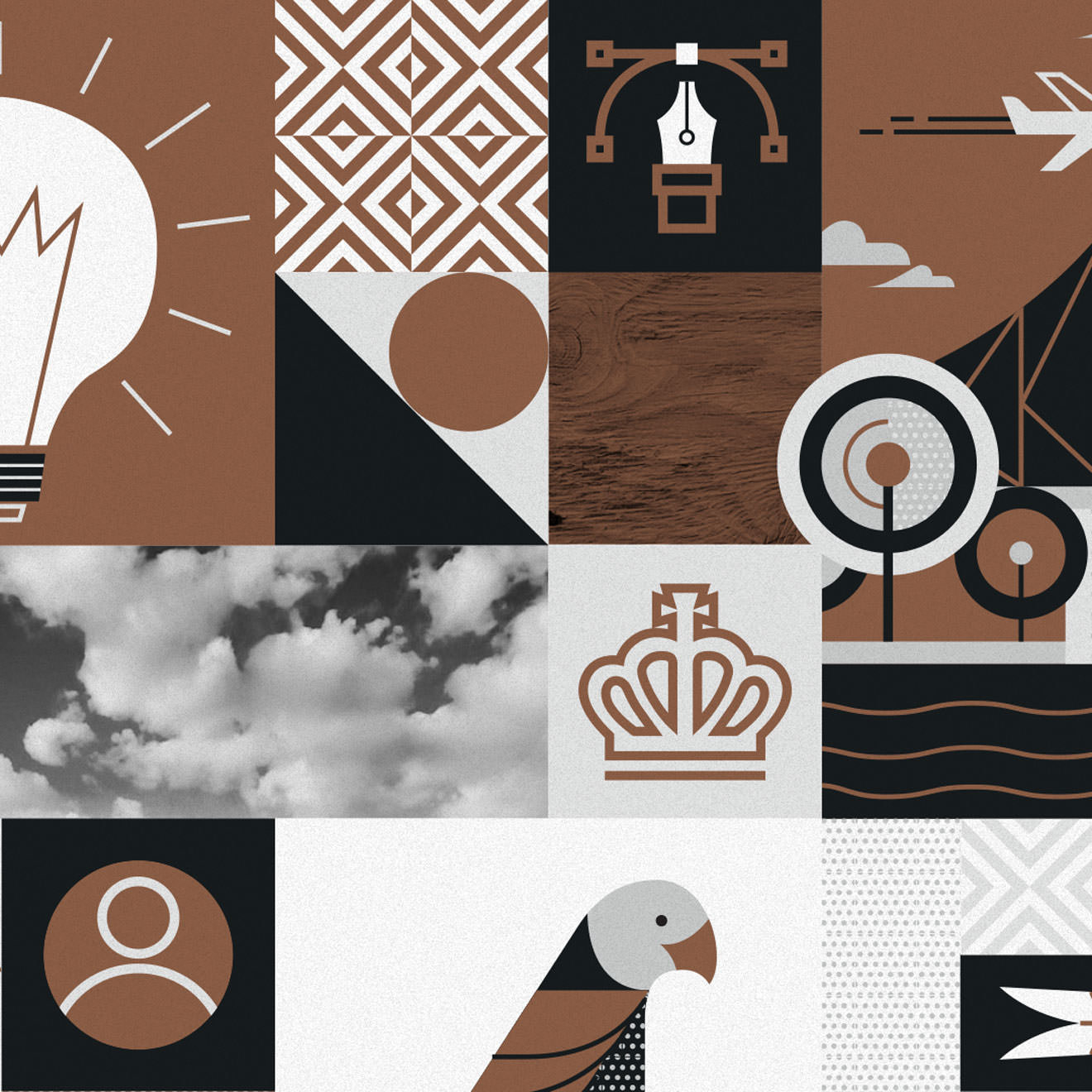 Brown, grey and white geometric illustration featuring a crown, a bird, a plane