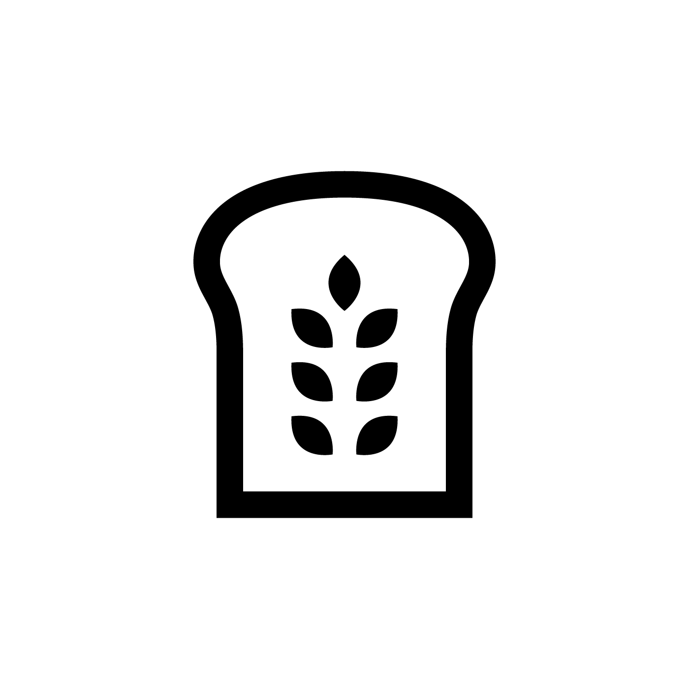 Black icon of a slice of bread with wheat leaves at its centre