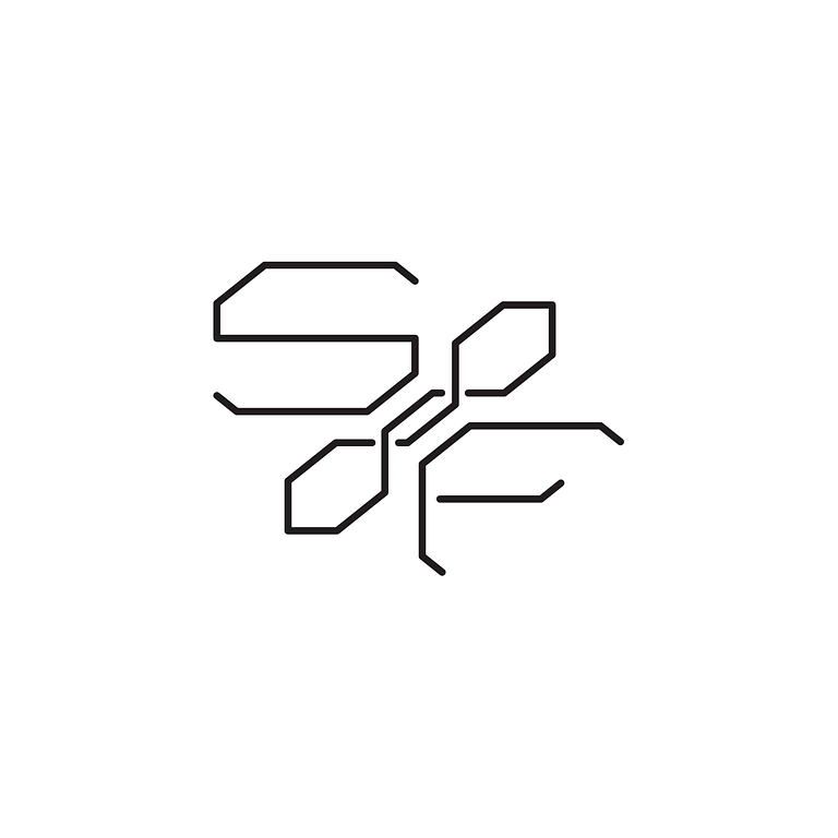 Logo of the letters S and F separated by a geometric barbell