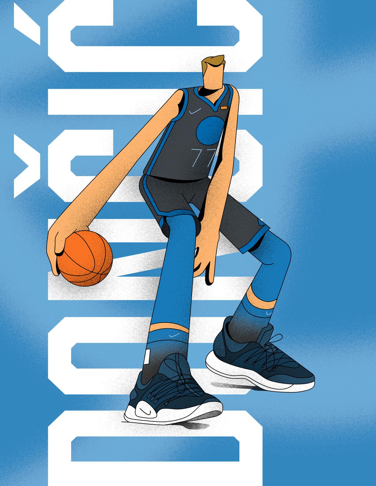 Illustration of basketball player, Luka Doncic, dribbling