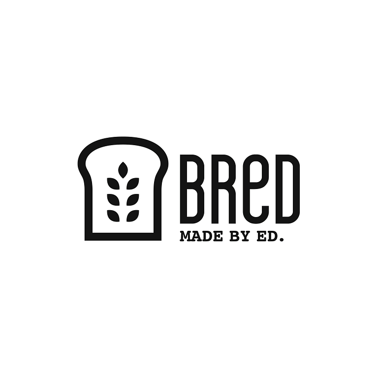 black and white icon of a slice of bread with wheat sprigs depicted at its centre. The logo also says BReD Made by Ed.