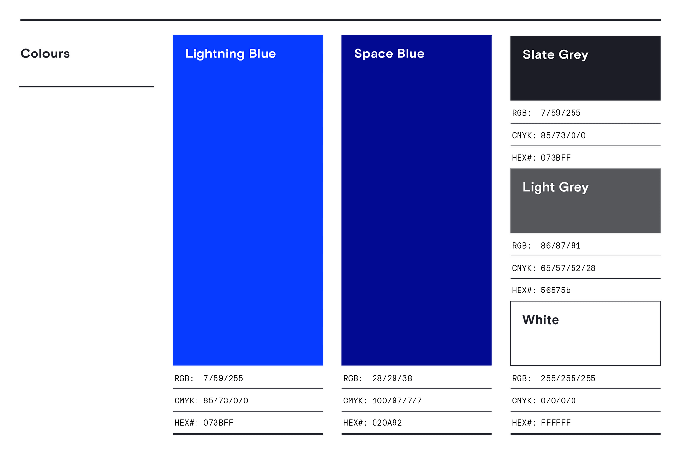 Light and dark blue, light and dark grey colours depicted on branding guidelines