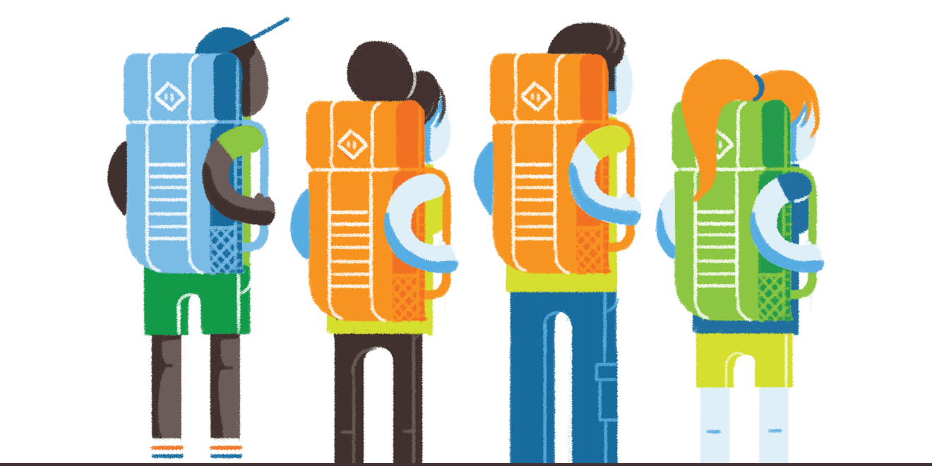 Illustration of four youths wearing different colour backpacks