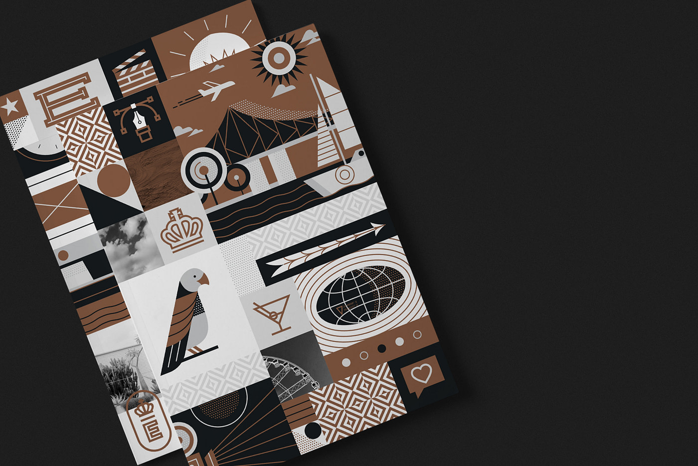 Brown, grey and white illustration montage atop a black background