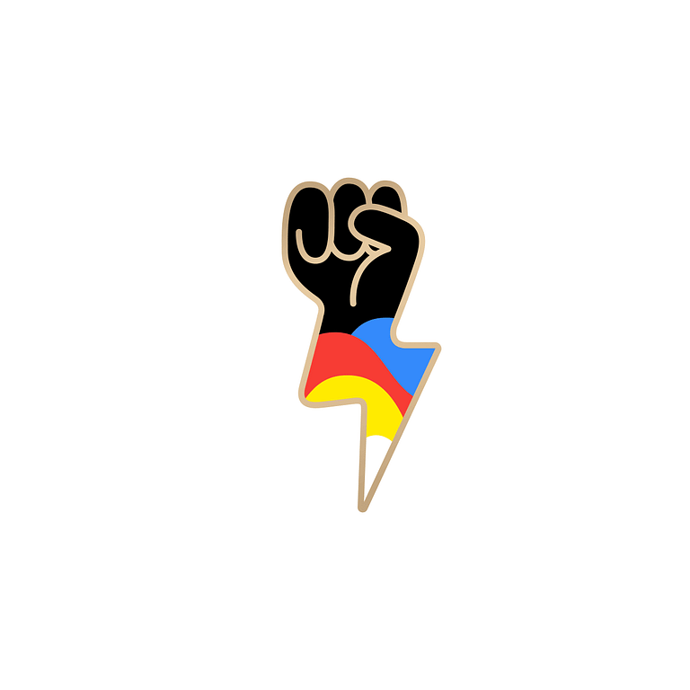 Black fist icon with 4-fingers emerging from a lightning bolt with blue, red, yellow and white coloured waves