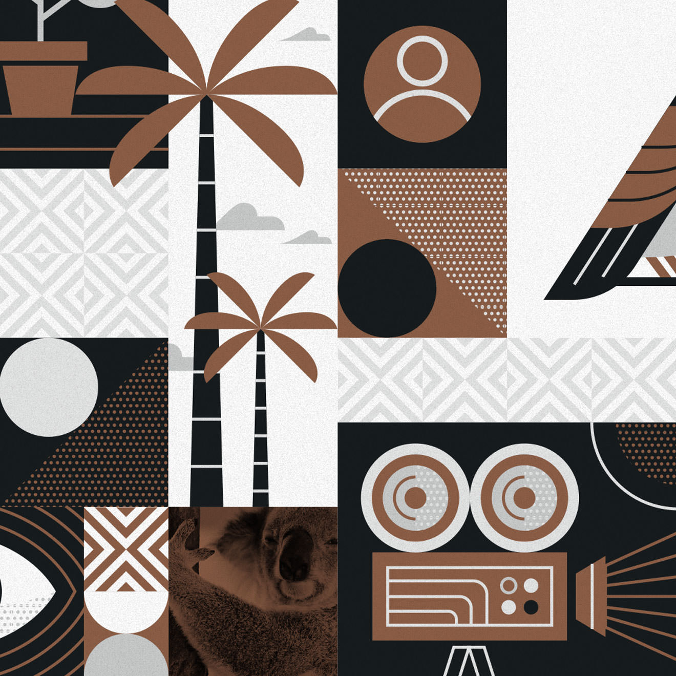 Brown, grey and white geometric illustration featuring a palm tree, a film reel, a koala