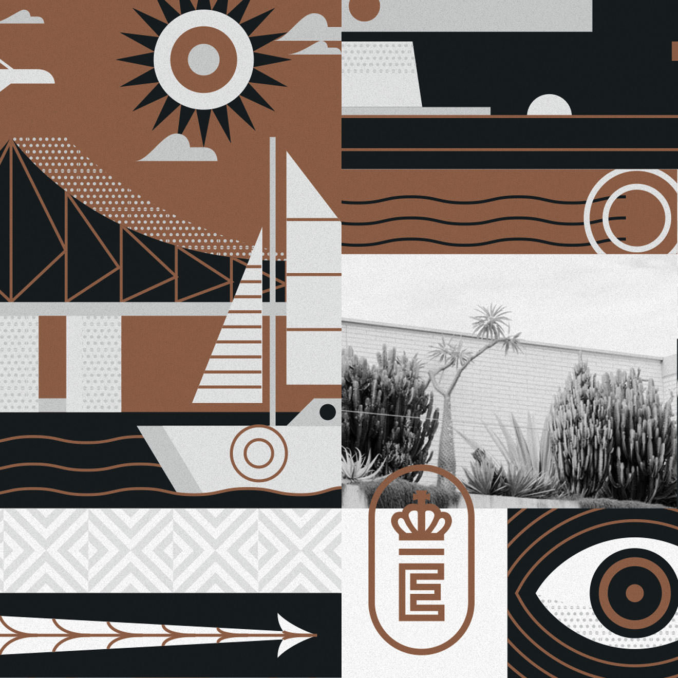 Brown, grey and white geometric illustration featuring a sailboat, an eyeball, a sun