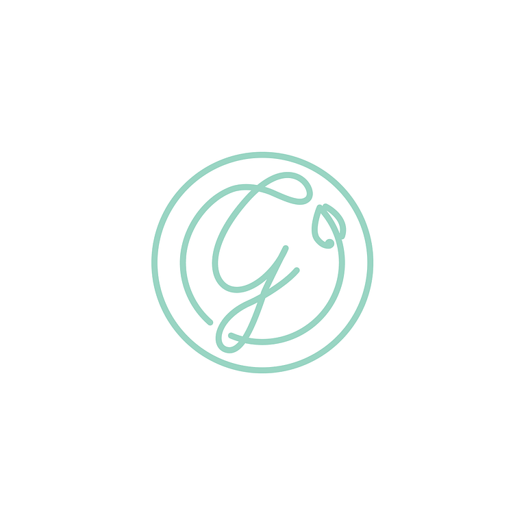 Light green and white icon of a circle, with the letter G encircled, written in curvy script with a leaf.