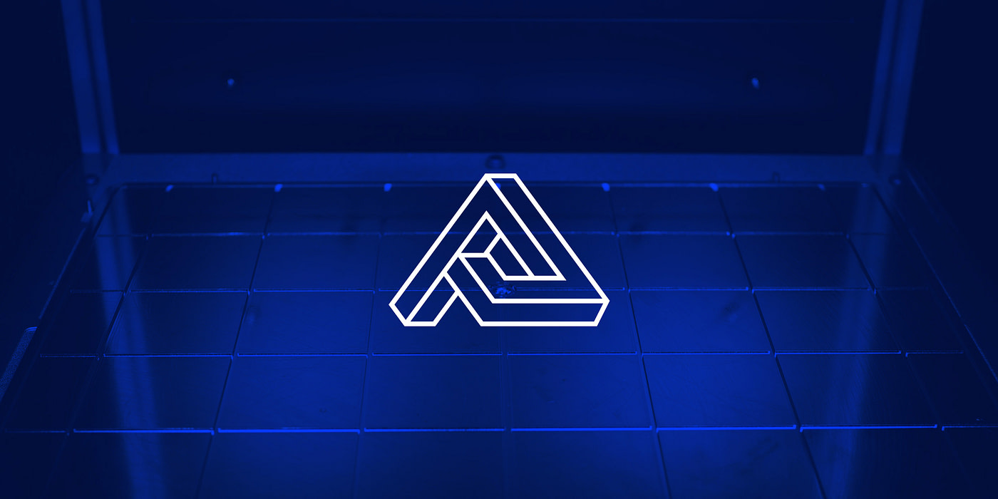 A geometric letter A in white overtop of a blue background