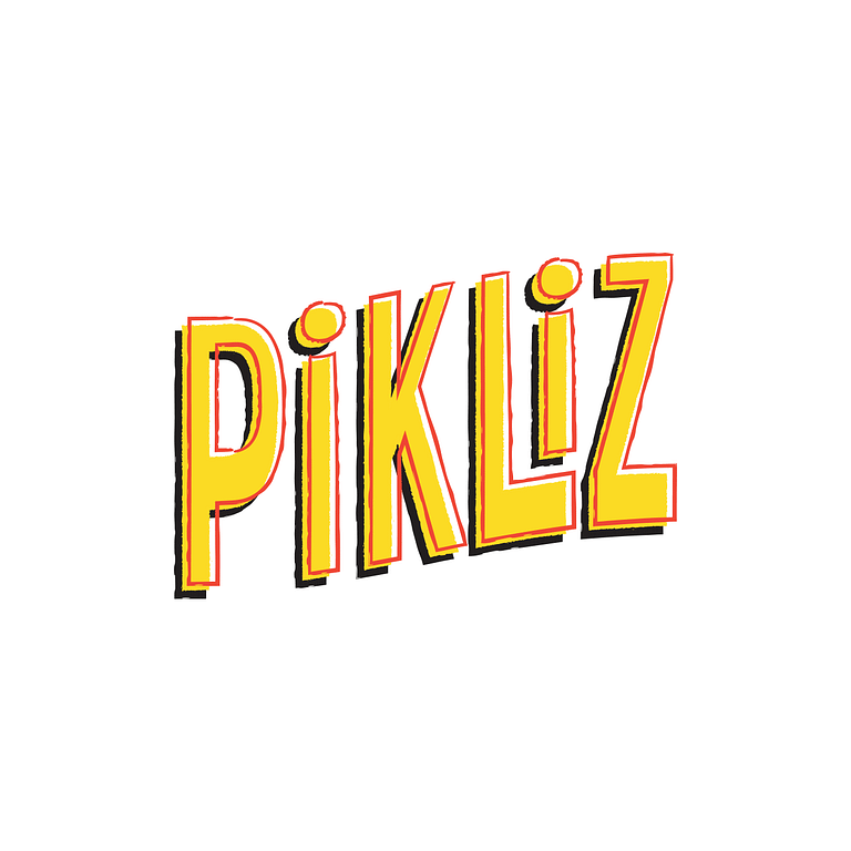 Yellow, red and black text that reads: Pikliz in bold slanted lettering