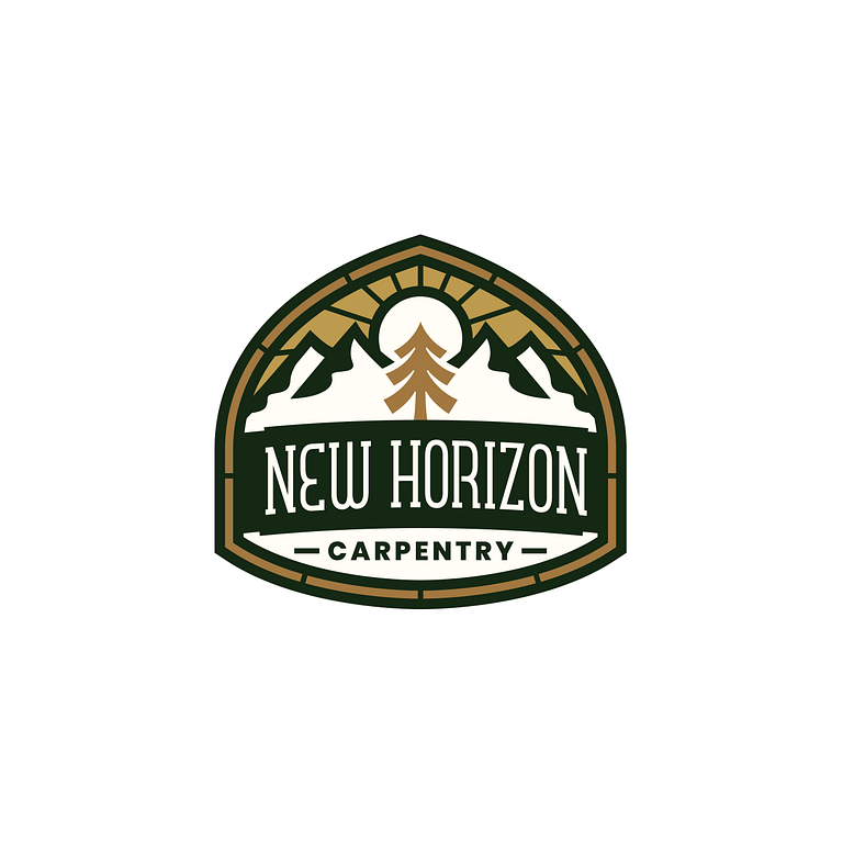 Acorn shaped green, brown and cream logo that reads: New Horizon Carpentry with a tree, sun and mountains
