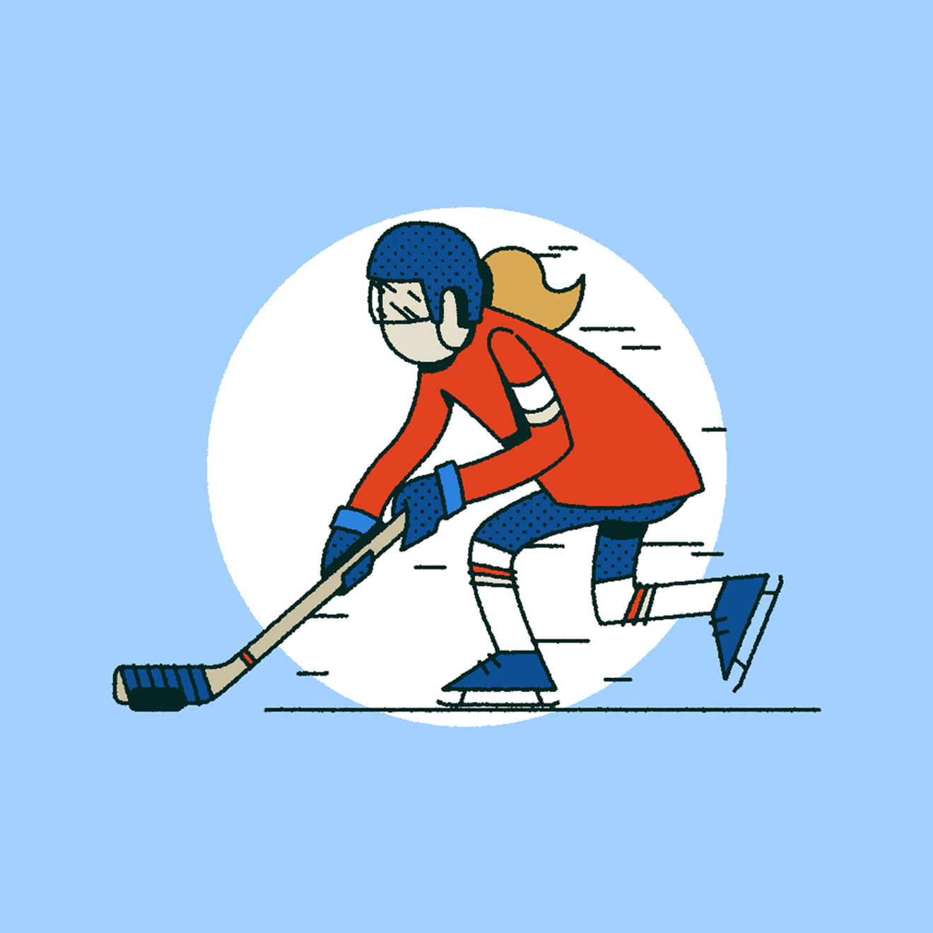 Blue, Red, White & Beige illustration of a woman playing hockey