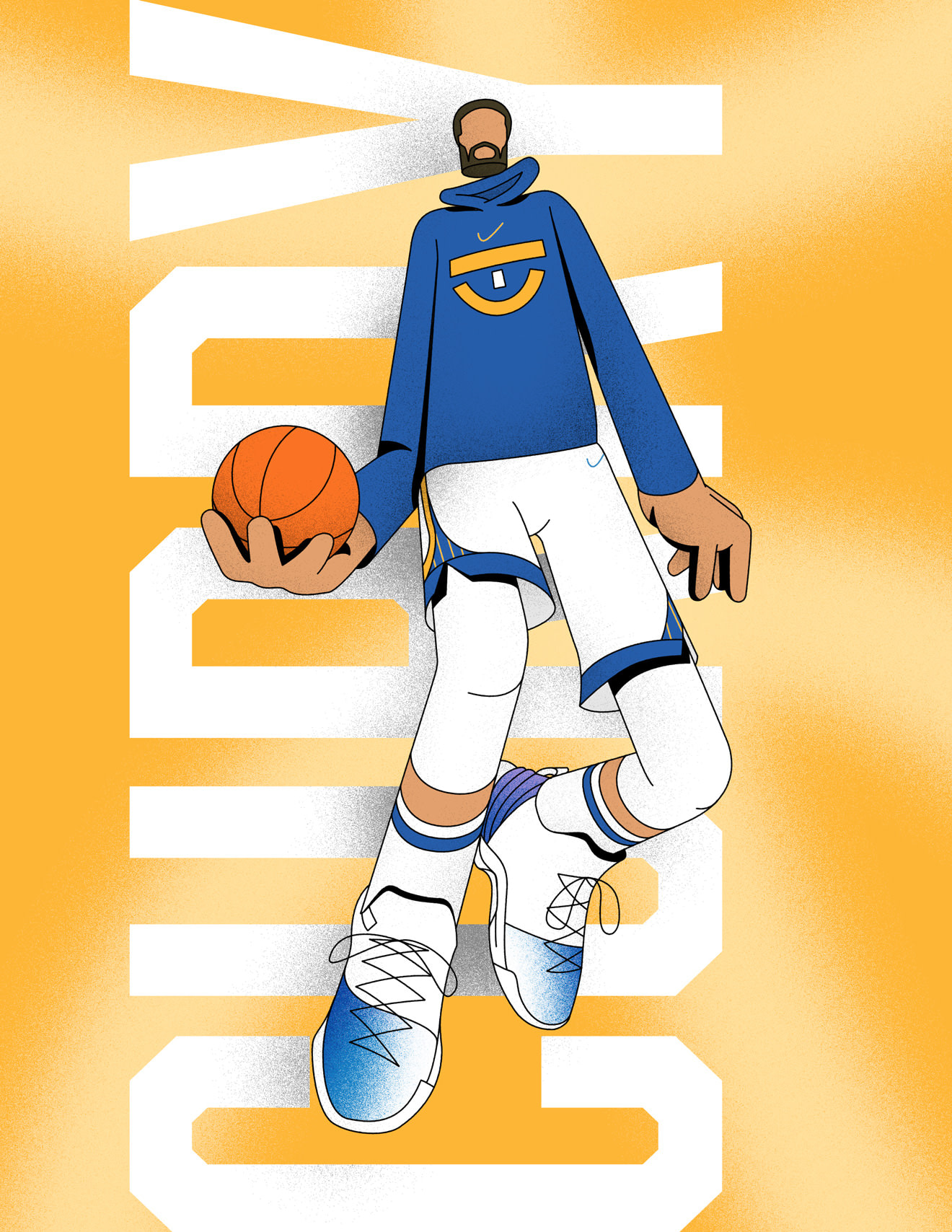 Illustration of basketball player, Steph Curry, mid-dunk
