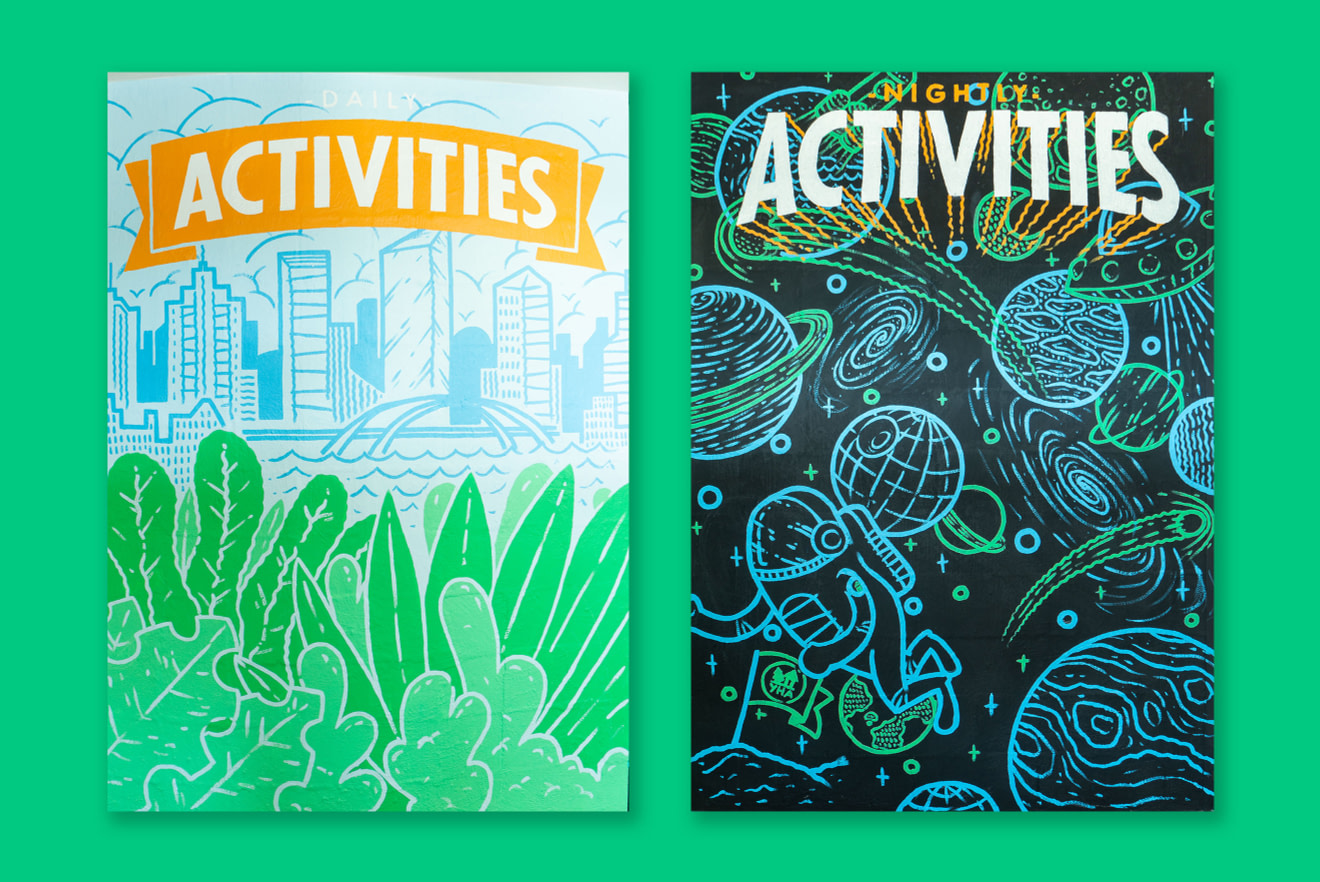 Painted wall art: two scenes with green, blue and orange backgrounds with titles that read: Activities