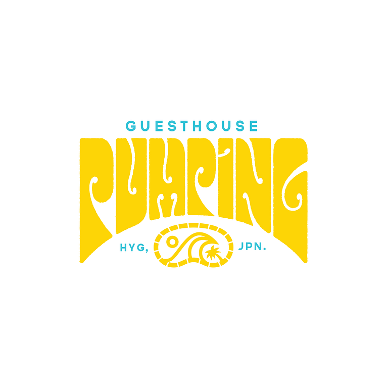 Logo reads: Guesthoue Pumping, HYG, JPN. The word Pumping is written in groovy and retro wave style text. Colours are yellow and light blue.