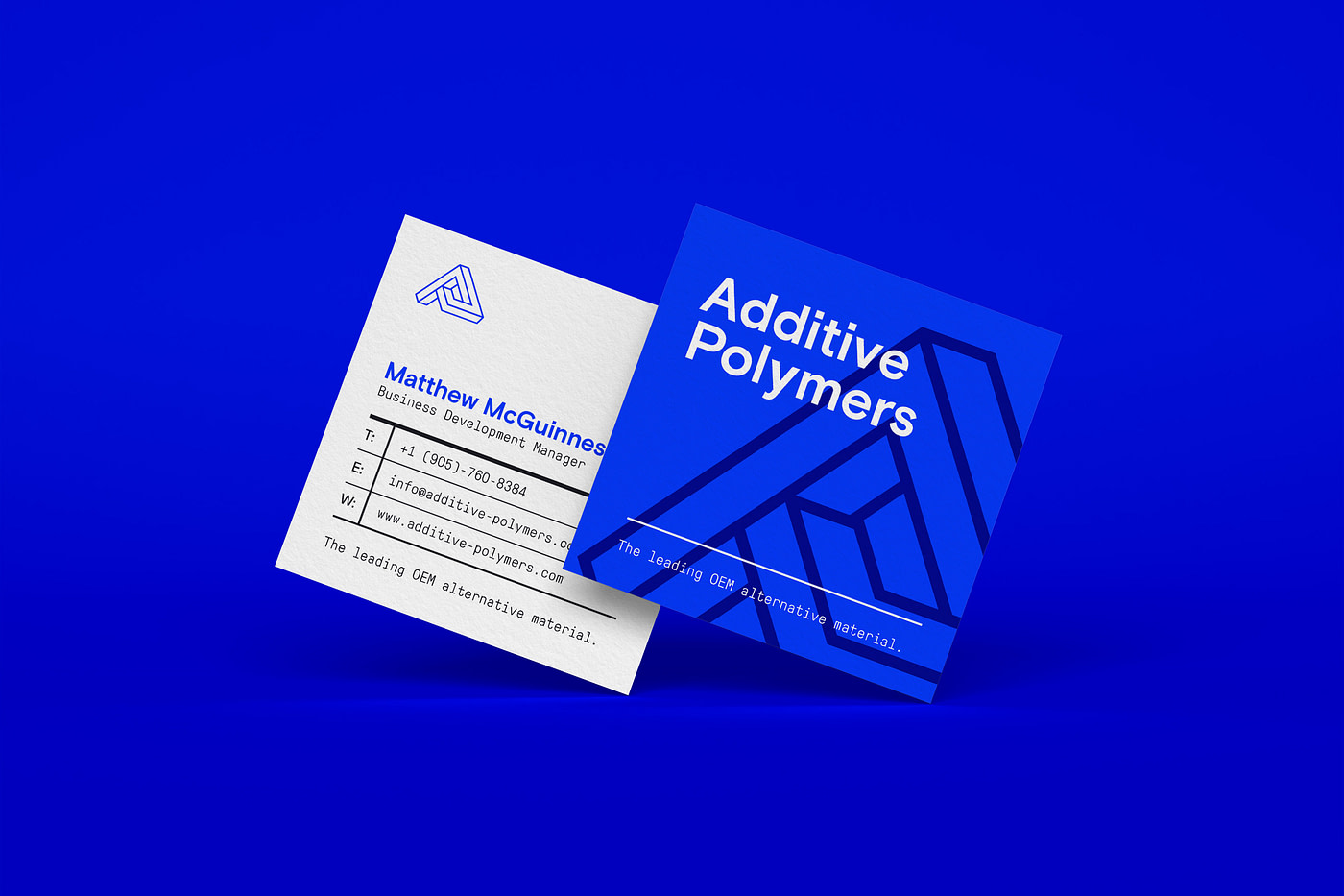 Bright blue and white business card for Additive Polymers. Reads: Matthew McGuinness