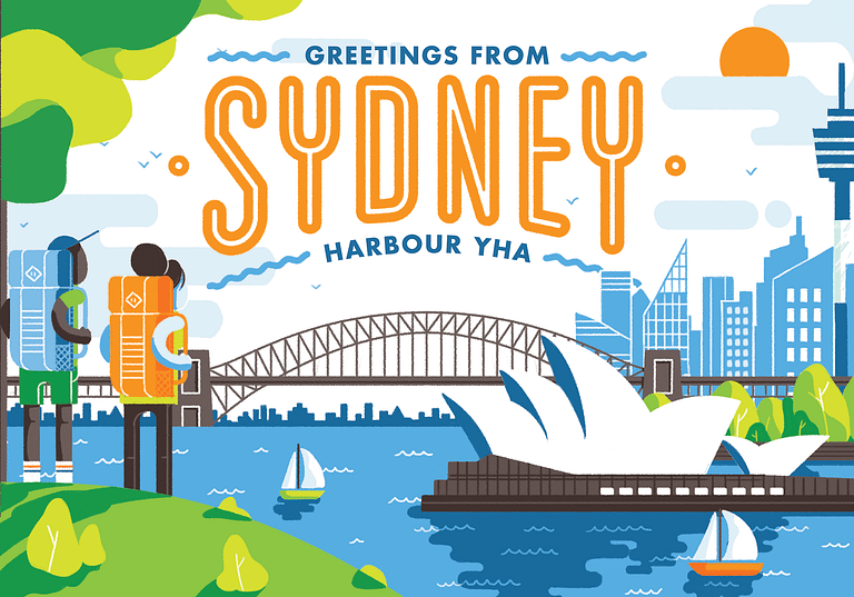 wall mural depicting a scene of a male and female both wearing backpacks and looking over Sydney harbour
