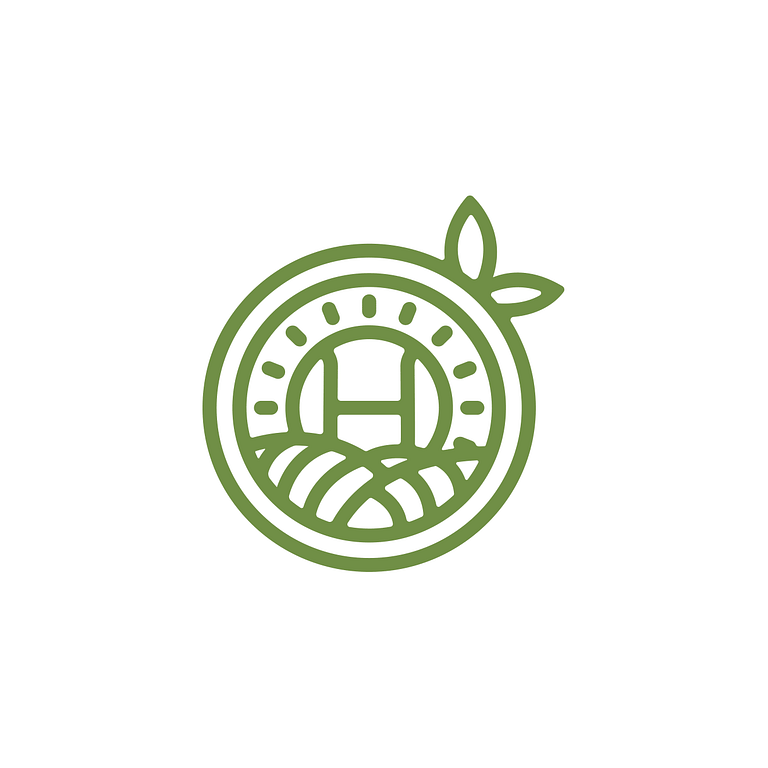 circular green logo with leaves poking out the side, like a fruit. At the centre is the letter H with lines like rays poking out of it in all directions