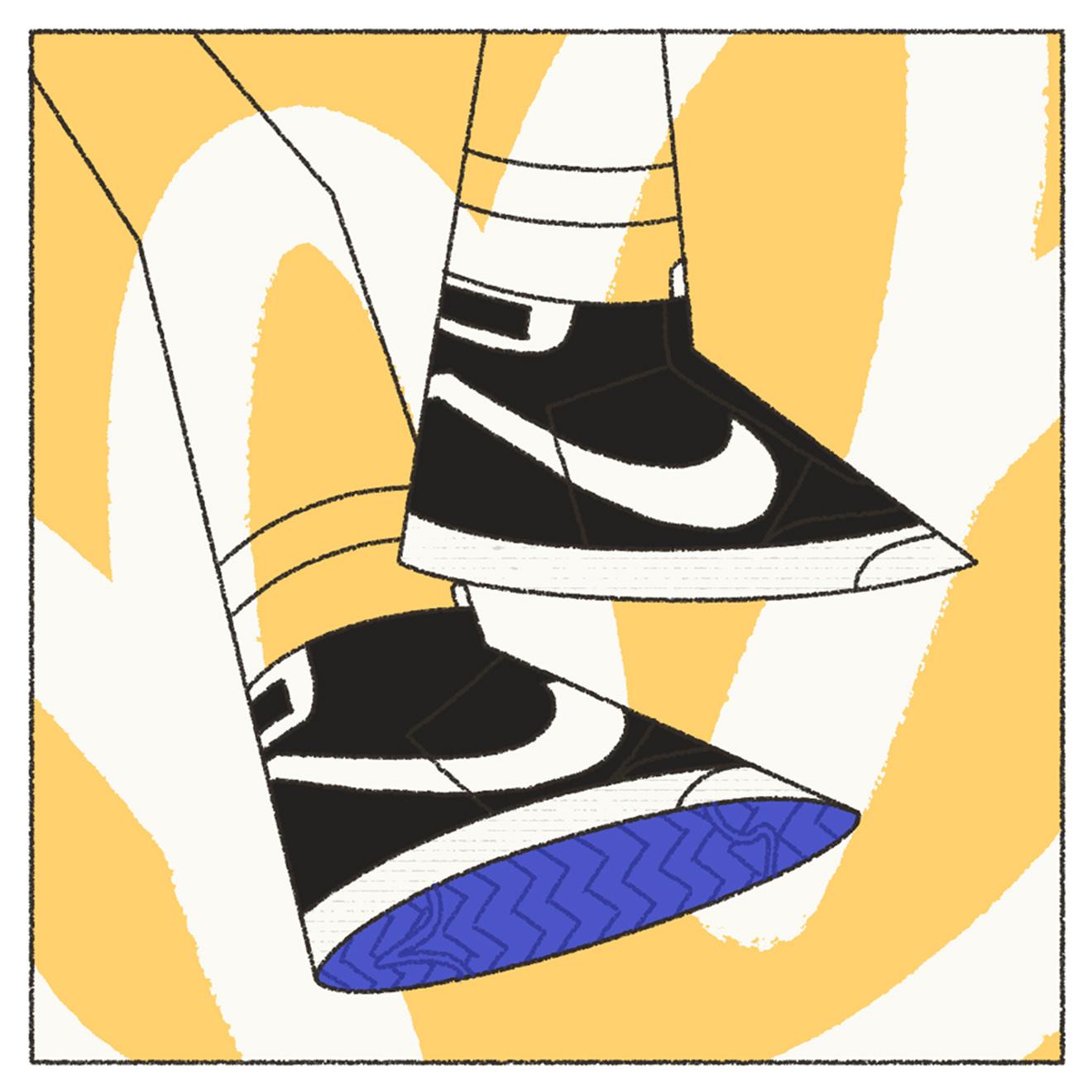 Black, white and yellow illustration of Nike Blazer SB sneakers