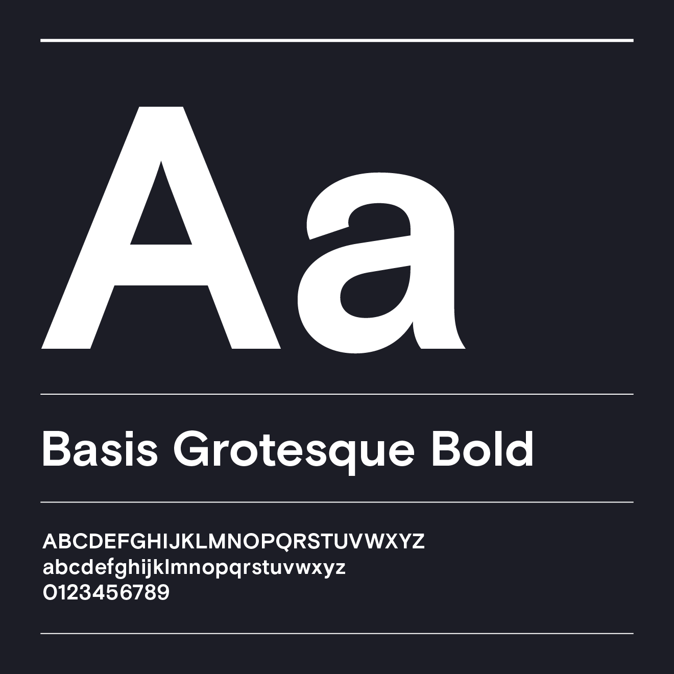 White text of the letter A over a black background in Basis Grotesque Bold font