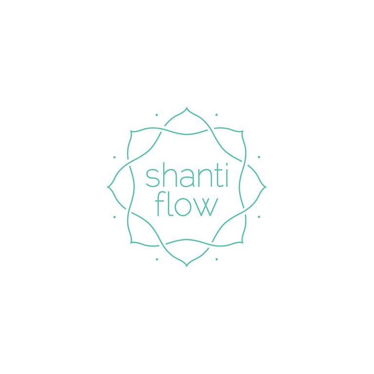 teal flowing lotus lines encircling the words: Shanti flow