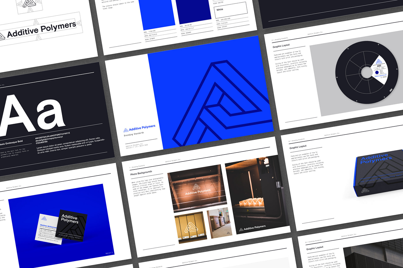 Blue, grey and black images of the Additive Polymers product catalogue
