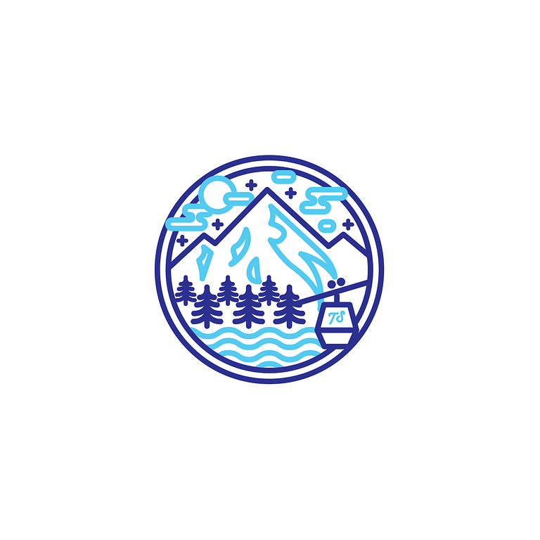 Light and dark blue circle icon depicts a mountain with wavy clouds and trees