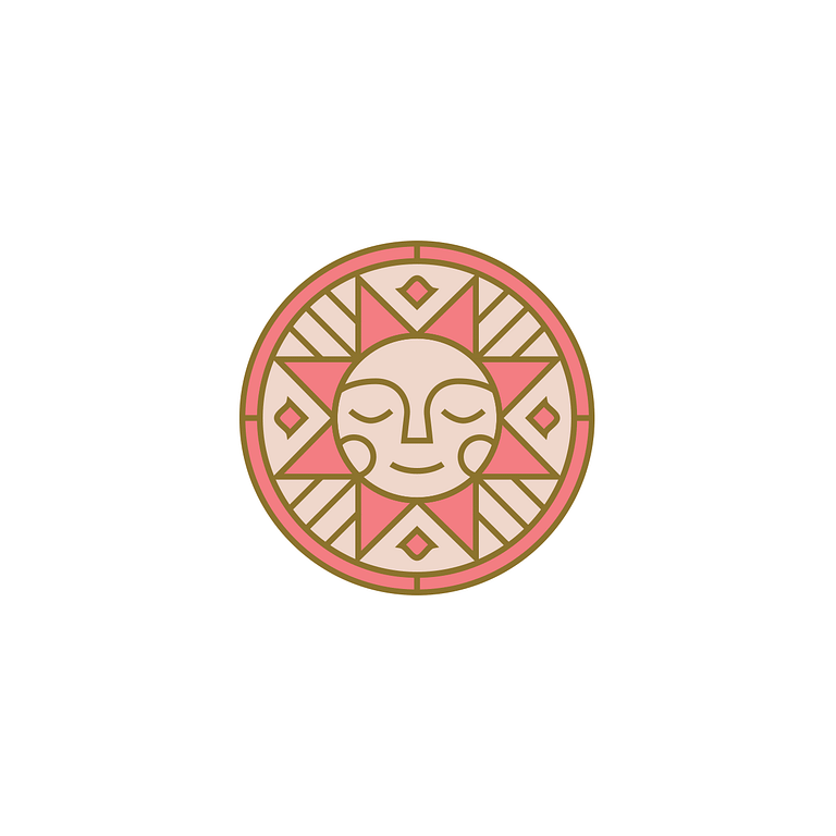 Light and dark pink circle with a geometric sun encapsulated