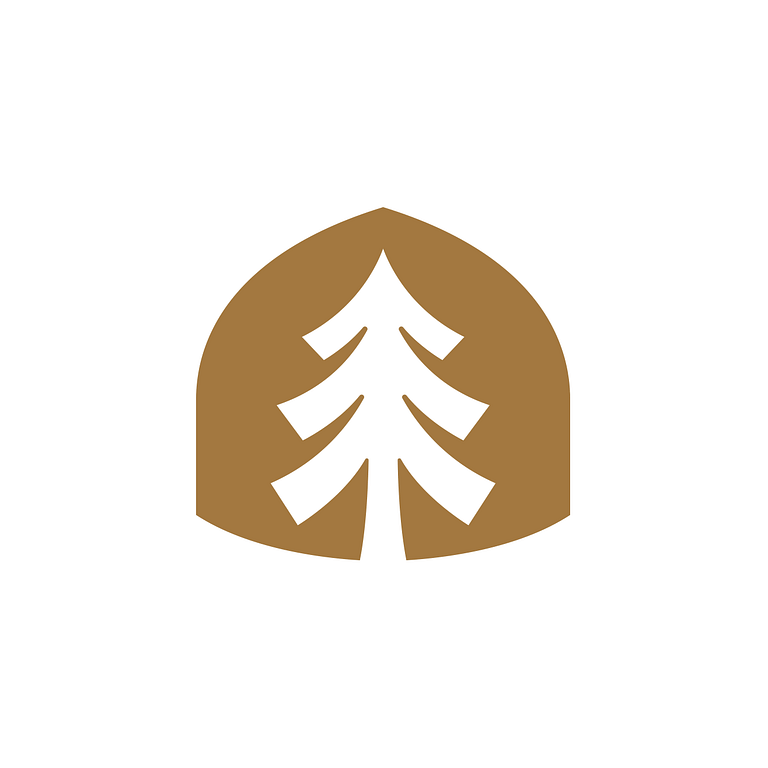 Brown acorn shape with a white pine tree at its centre