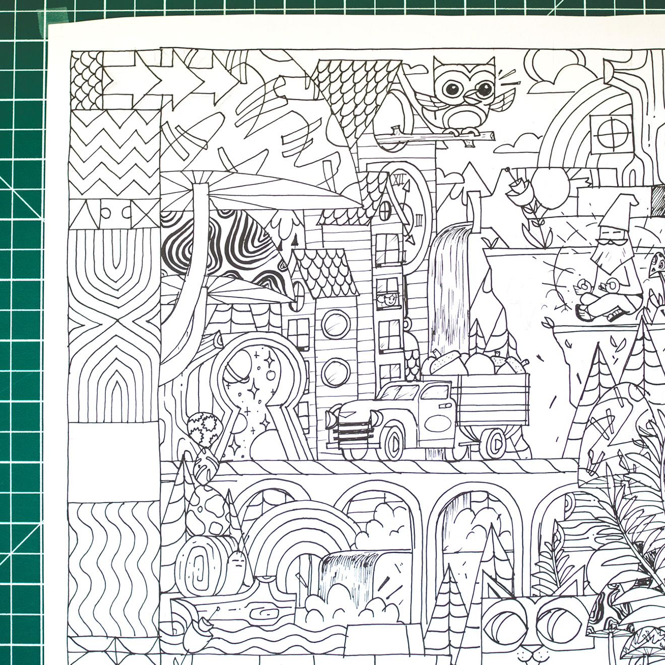 Black and white outline of a fantastical scene depicting mushrooms, snails, a waterfall, a gnome, acorns and trees.