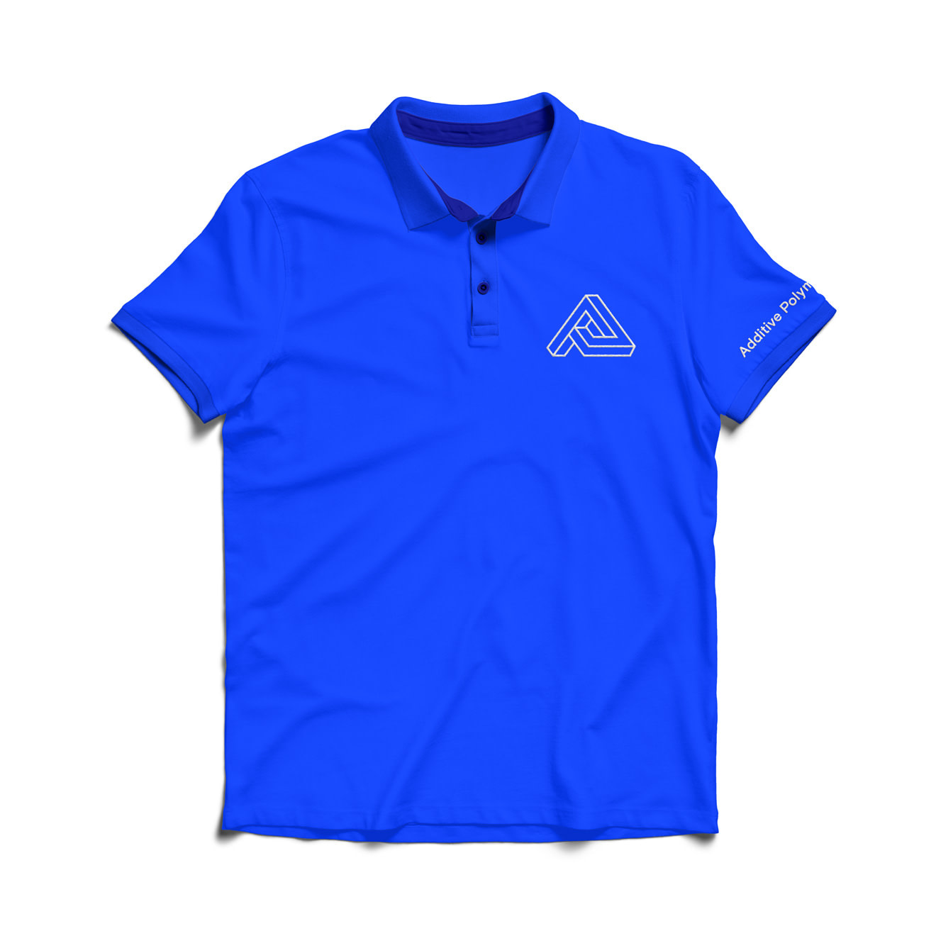 Bright blue polo shirt with a geometric A logo atop the breast