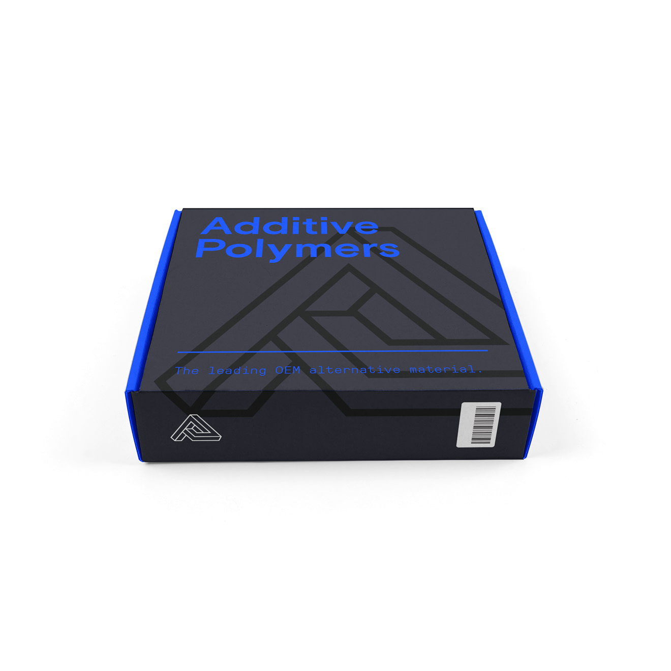 Bright blue and black box packaging for an Additive Polymers spool