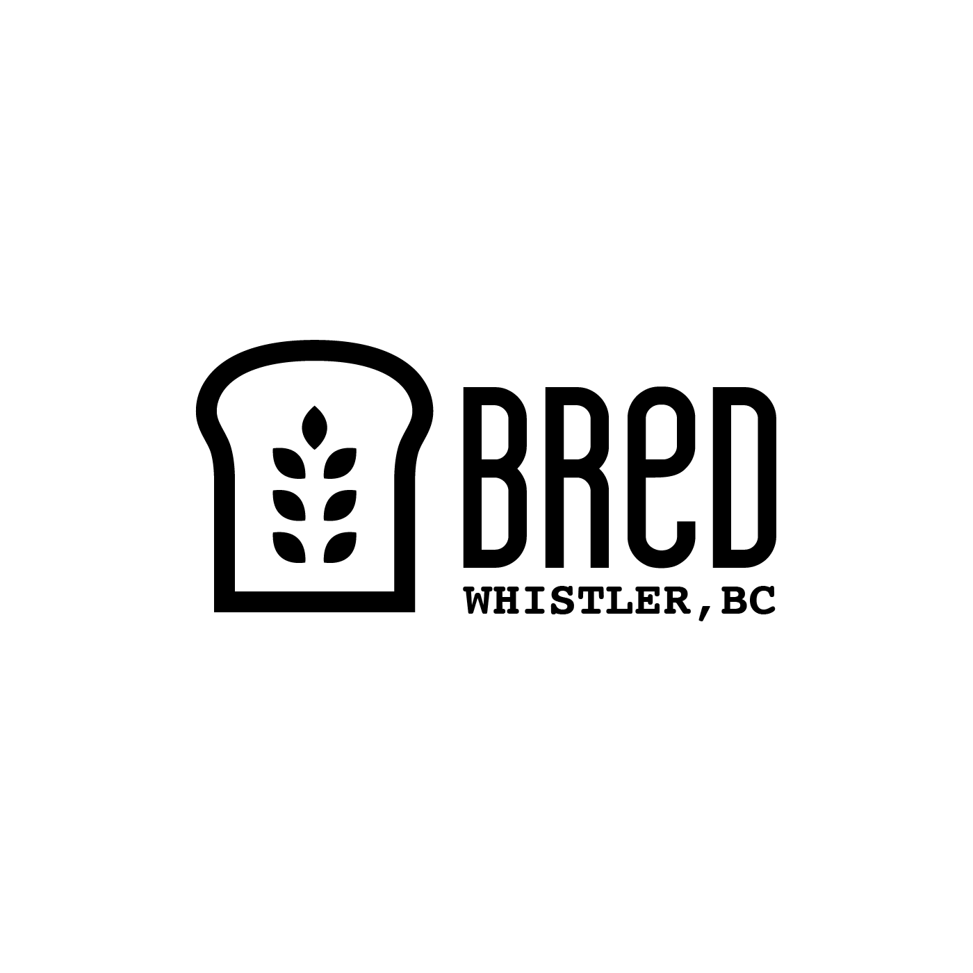 Black and white icon of a slice of bread with wheat leaves at its centre. The loco also reads Bred - Whistler, BC.