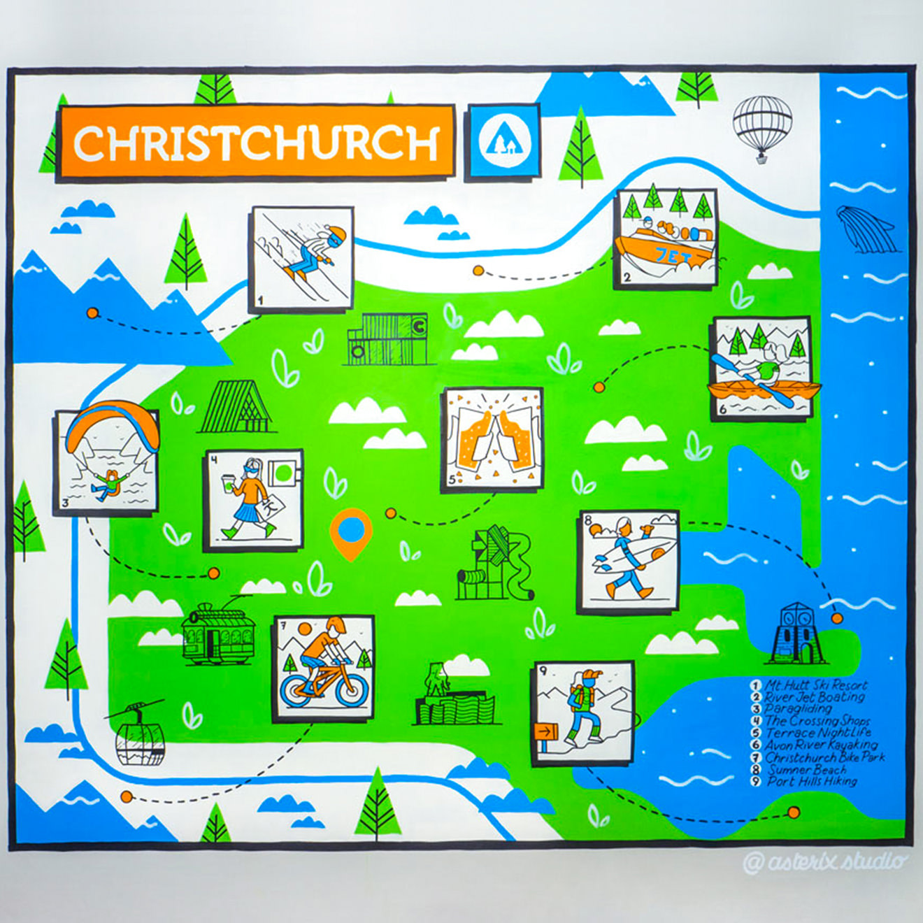 Wall mural painting of a map of Christchurch. Displays activities that tourists would enjoy in the city