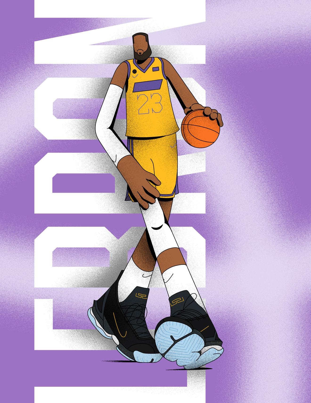 Illustration of basketball player, LeBron James, mid-dunk