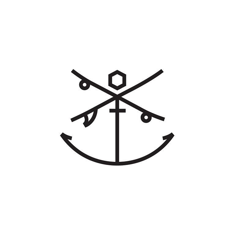 icon of an anchor, criss-crossed with a surfboard and a skateboard