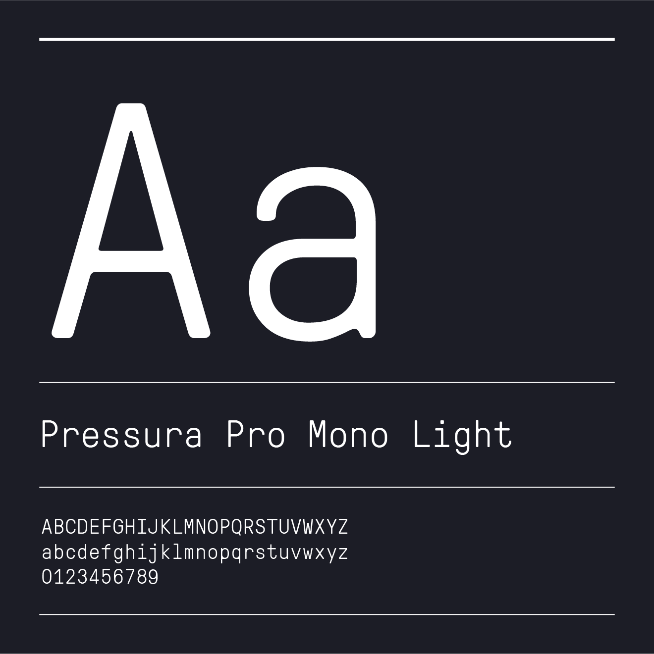 White text of the letter A over a black background in Pressura Pro Mono Light font