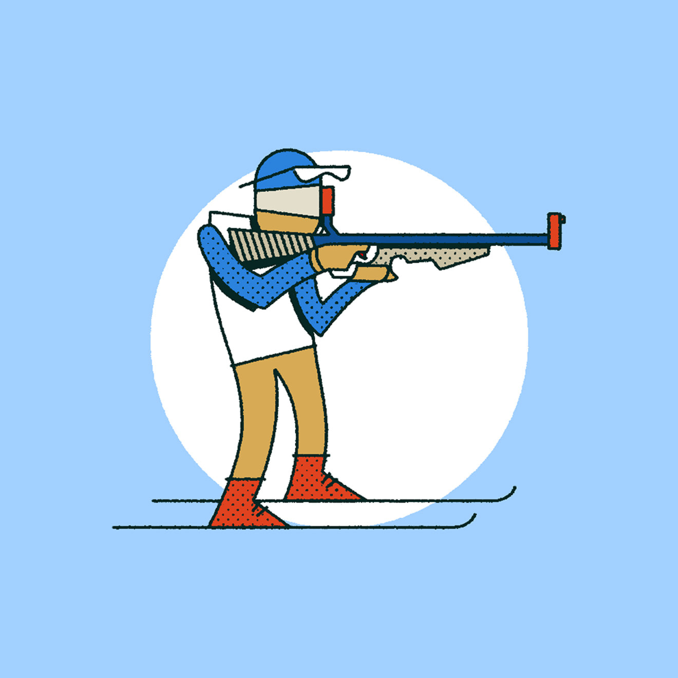 Blue, Red, White & Beige illustration of a person sport shooting