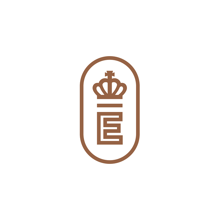 Oval brown logo with a bold capital E wearing a crown at its centre