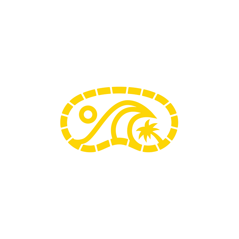 yellow and white icon in the shape of scuba goggles. At the centre is a wave, a circle to represent the sun, and a palm tree.