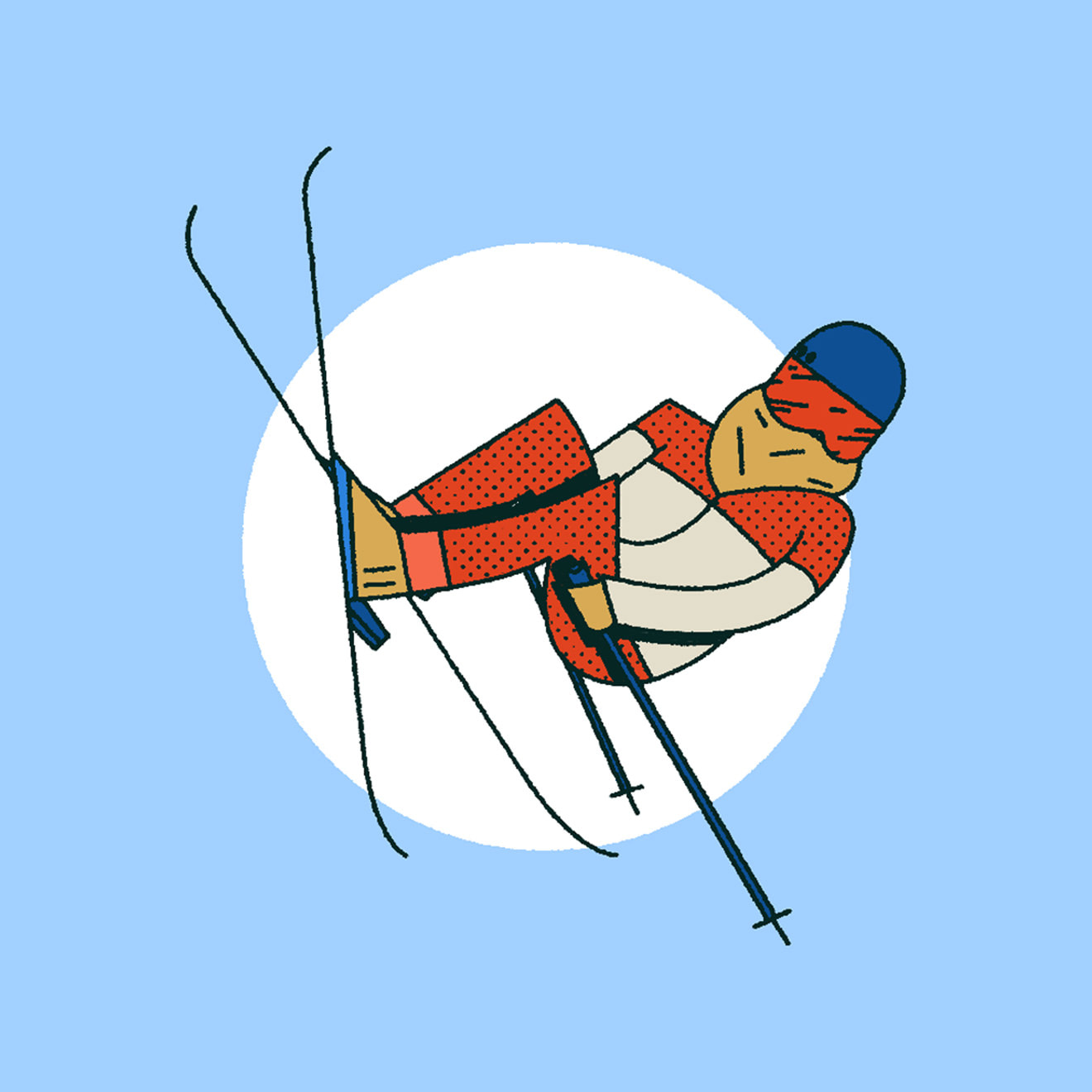 Blue, Red, White & Beige illustration of a person freestyle ski jumping