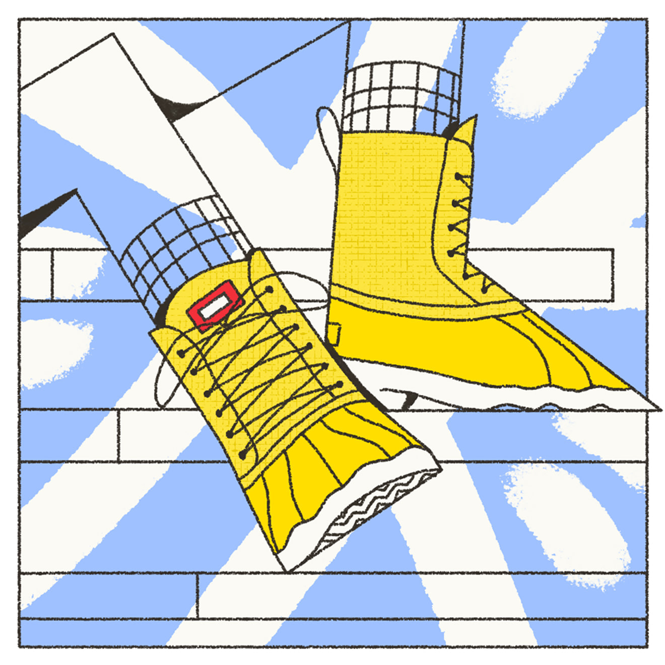 Yellow and blue illustration of Native shoes