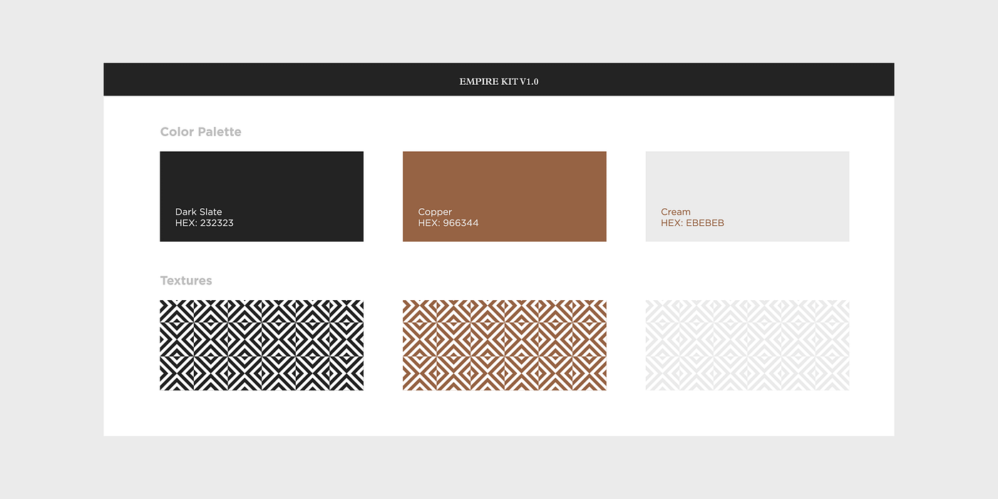Branding guidelines for Empire depict black, copper and cream colours with geometric patterns