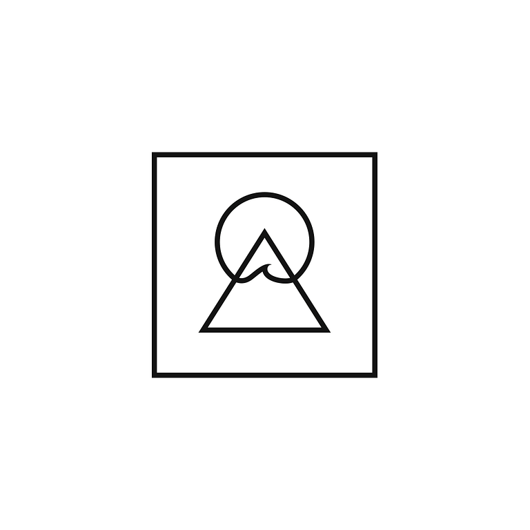 Icon of a triangular mountain encapsulated by a larger square. The mountain is peaked by a circular sun, with a wave cresting where it connects with the triangle.